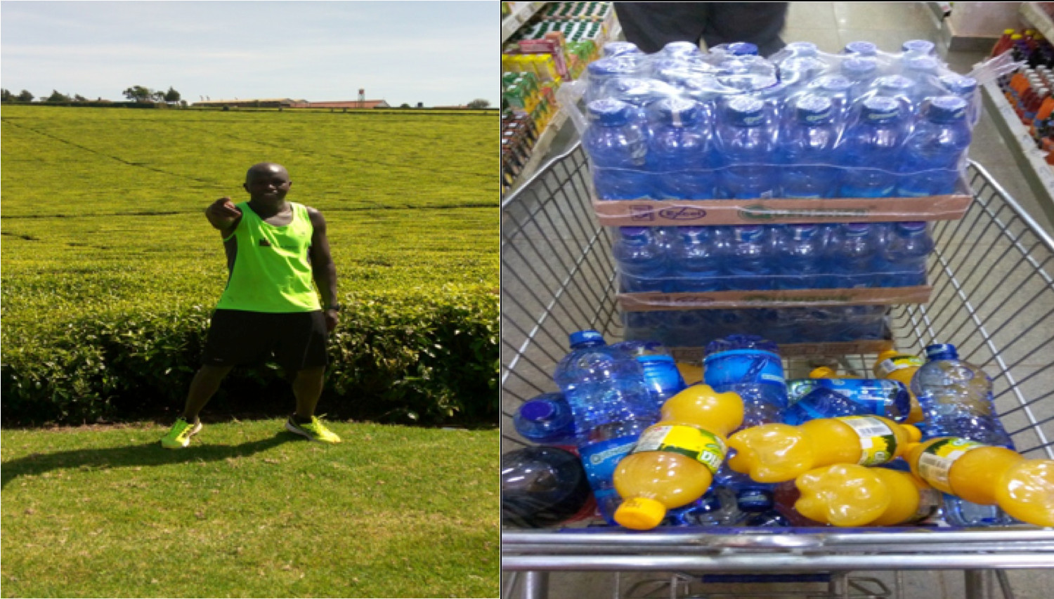(L) Eden Tea Estate, Kariirana in Limuru, the highest point on my 70 km training run (R) How your shopping basket looks like when headed to Kerio Valley for a 70km Run